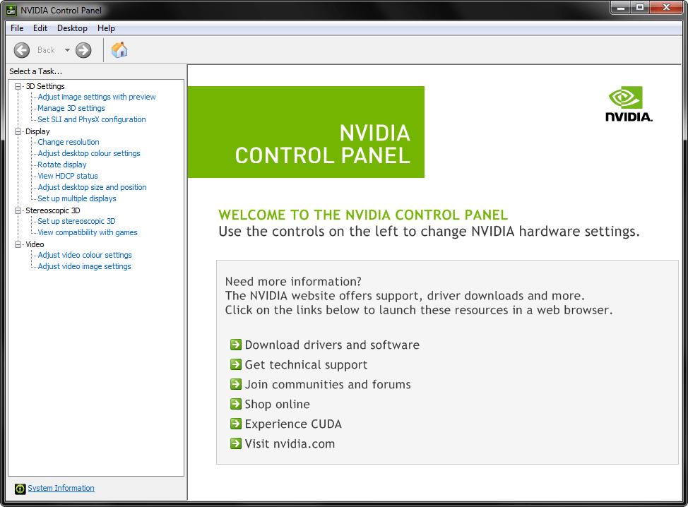 nvidia control panel missing options windows 10